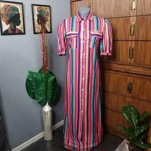 Dresses & Skirts - Button Down Dress Duster Stripe Size